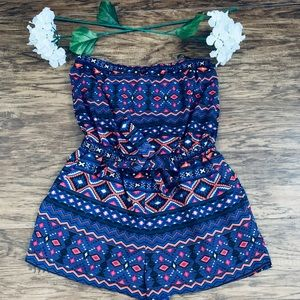Forever 21 romper/Tie Knot blouse size large